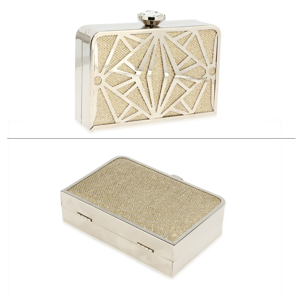 art deco gold metal clutch modernity