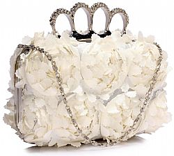 extravagant ivory floral clutch