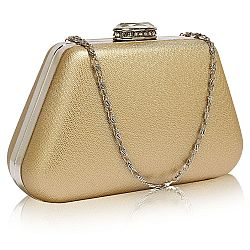 chic trapeze gold metallic clutch