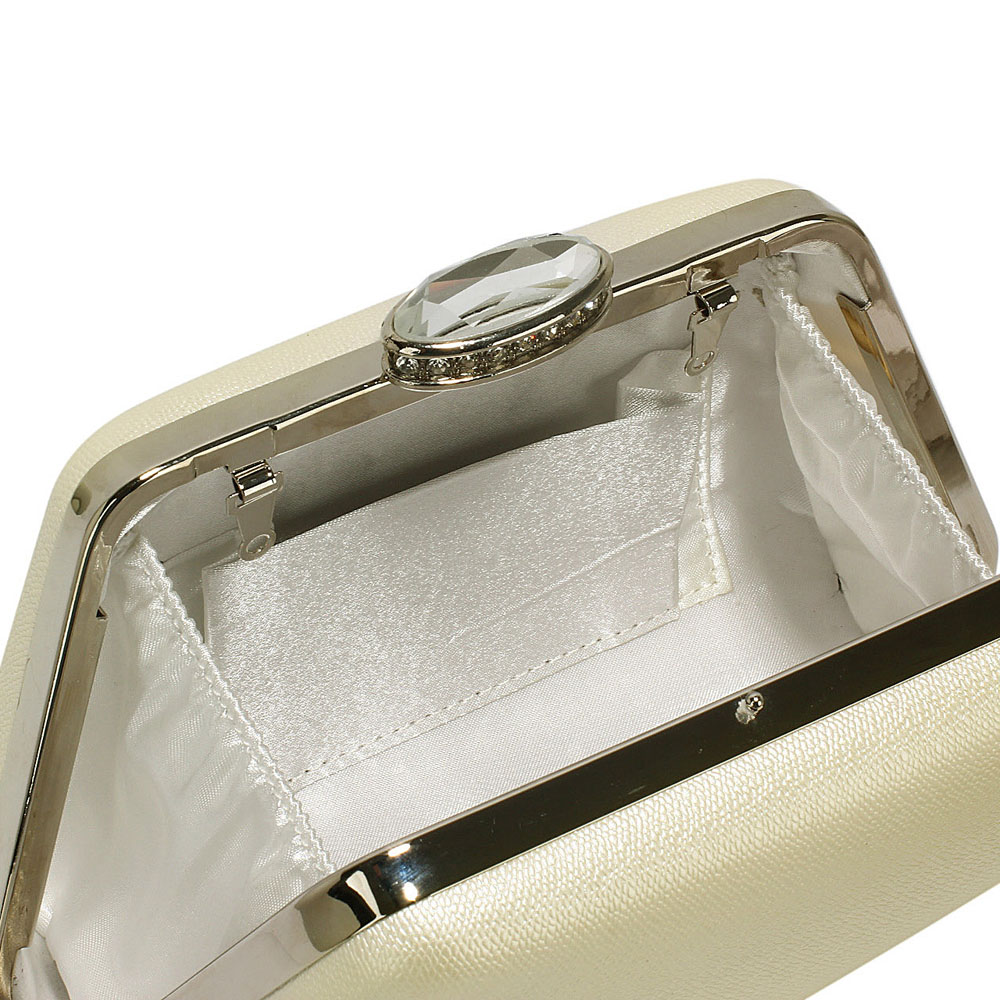 chic trapeze ivory metallic clutch
