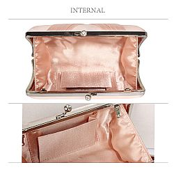 bridal nude satin clutch