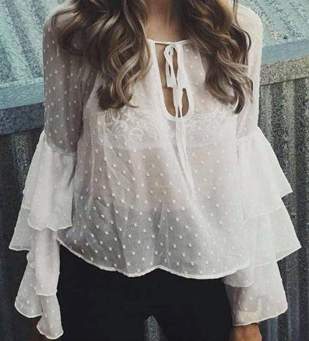 romantic sheer top Shelly white