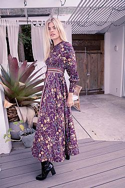 70s luxe bohemia φόρεμα Essien purple
