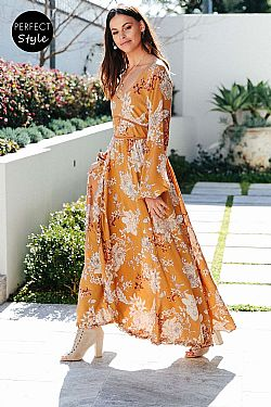 romantic bohemian chic φόρεμα Ryden mustard maxi