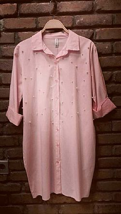 casual chic pearls shirt dress salmon