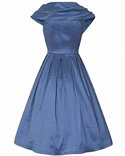 vintage φόρεμα chic taffeta pearl blue 50s ... 01db227fe23