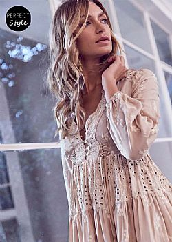 ultimate boho chic φόρεμα broderie Aria vintage poudre