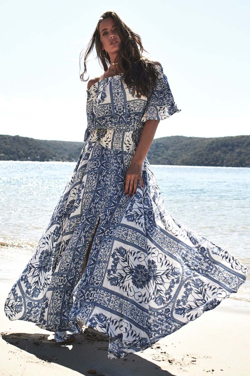 bohemian luxe off shoulder φόρεμα Lea blue island