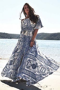 2d9a3885f3cc ... bohemian luxe off shoulder φόρεμα Lea blue island