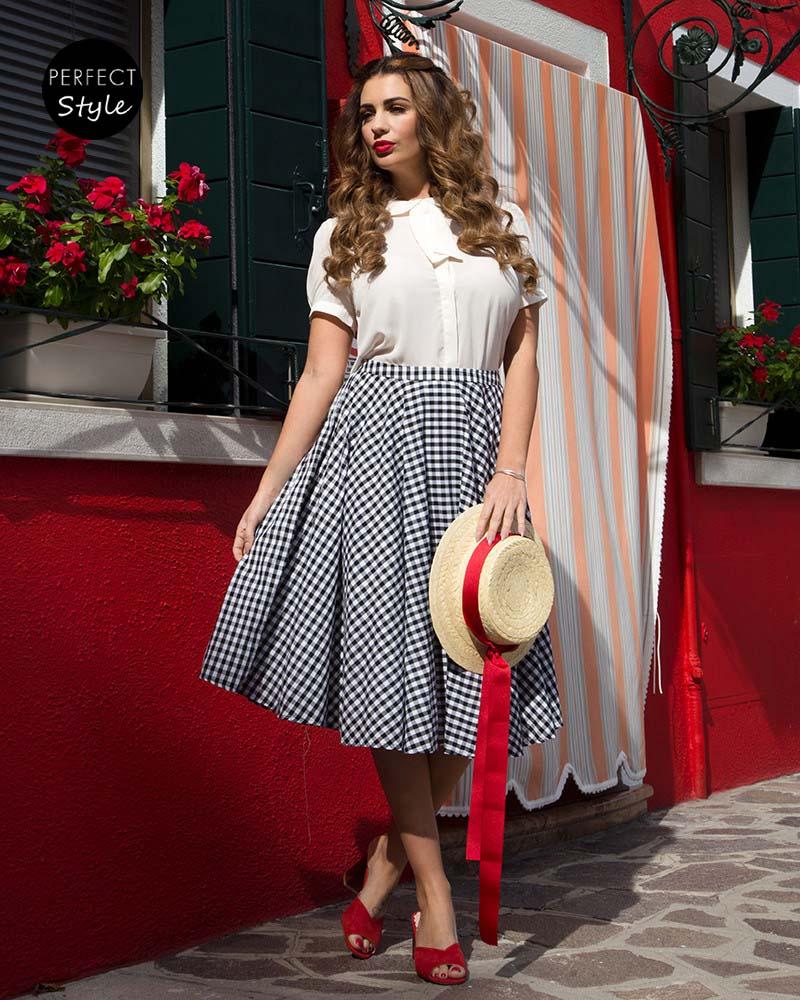 1eb8e9020ac vintage full skirt καρώ φούστα Dolly