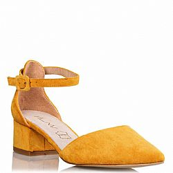 new vintage γόβες ankle strap Shanna low mustard