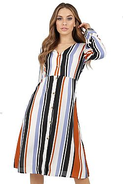 70s inspired ριγέ multicolor shirt dress Jenna