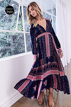 f21206f1888c ... bohemian hippie chic φόρεμα midnight blue Indiana