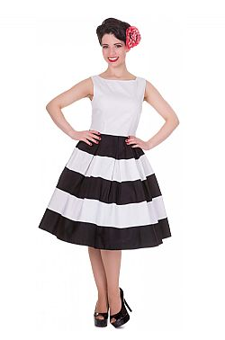 73a4dd156e45 pin up stripe 50s φόρεμα Anna white ...
