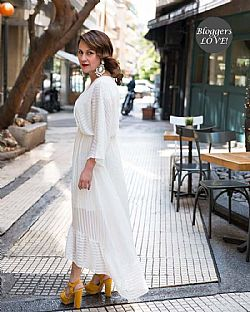 sheer ριγέ φόρεμα total white Frances