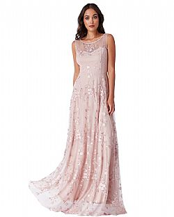 romantic maxi lace tulle φόρεμα Misty Rose
