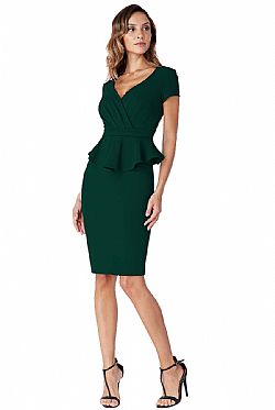 chic business peplum φόρεμα forest green