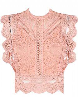 08980079711 precious crochet top δαντέλα Corine salmon pink ...