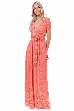 2a167e1dd0e romantic fine lace φόρεμα Isadora coral romantic fine lace φόρεμα Isadora  coral