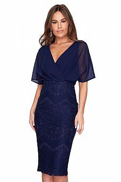 91ea37f93c6b ... cocktail chic φόρεμα midi chiffon δαντέλα Joanna μπλε navy