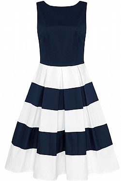 843915d9e485 ... vintage pin up stripe 50s φόρεμα Anna nautical navy