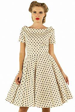 990d9f4db0a vintage φόρεμα polka dot Emily beige/μαύρο ...