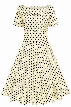 7ddb1839ab02 vintage φόρεμα polka dot Emily beige μαύρο