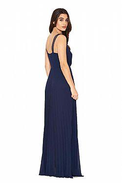 a33771275d71 αέρινο βραδινό φόρεμα minimal pleat σε navy ...