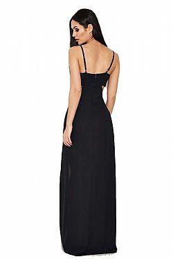 207305fd237c sexy cut out μαύρο maxi φόρεμα Saya ...