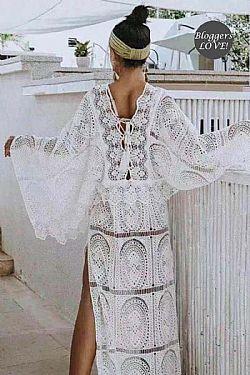 a254681d54f ... ultimate bohemian luxe crochet φόρεμα Indira white
