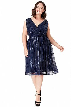 plus size star quality 30s wrap chiffon plus φόρεμα paillette navy