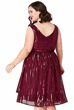 plus size star quality 30s wrap chiffon φόρεμα paillette wine