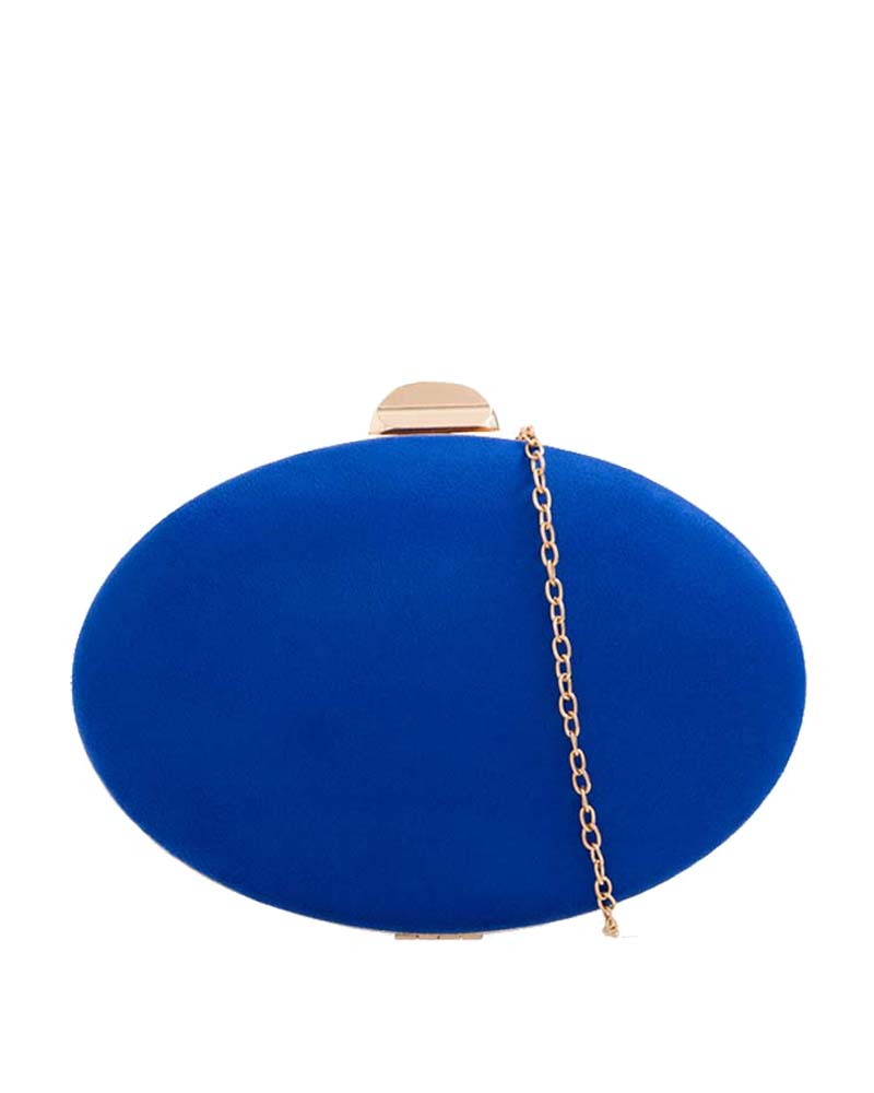 minimal oval suedette clutch σε royal blue