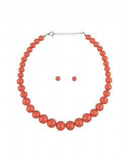 vintage 50s σετ classic pearls σε πορτοκαλί coral