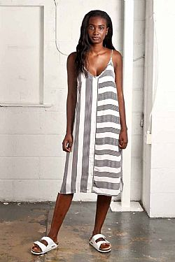 urban loose viscose striped φόρεμα