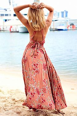 bohemian chic φόρεμα tabac Saffron backless