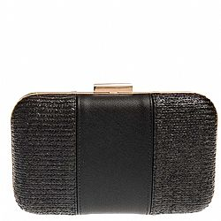 ψάθινο chic clutch leather stripe black Bay