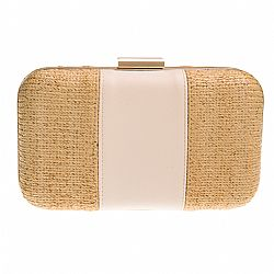 ψάθινο chic clutch leather stripe beige Bay