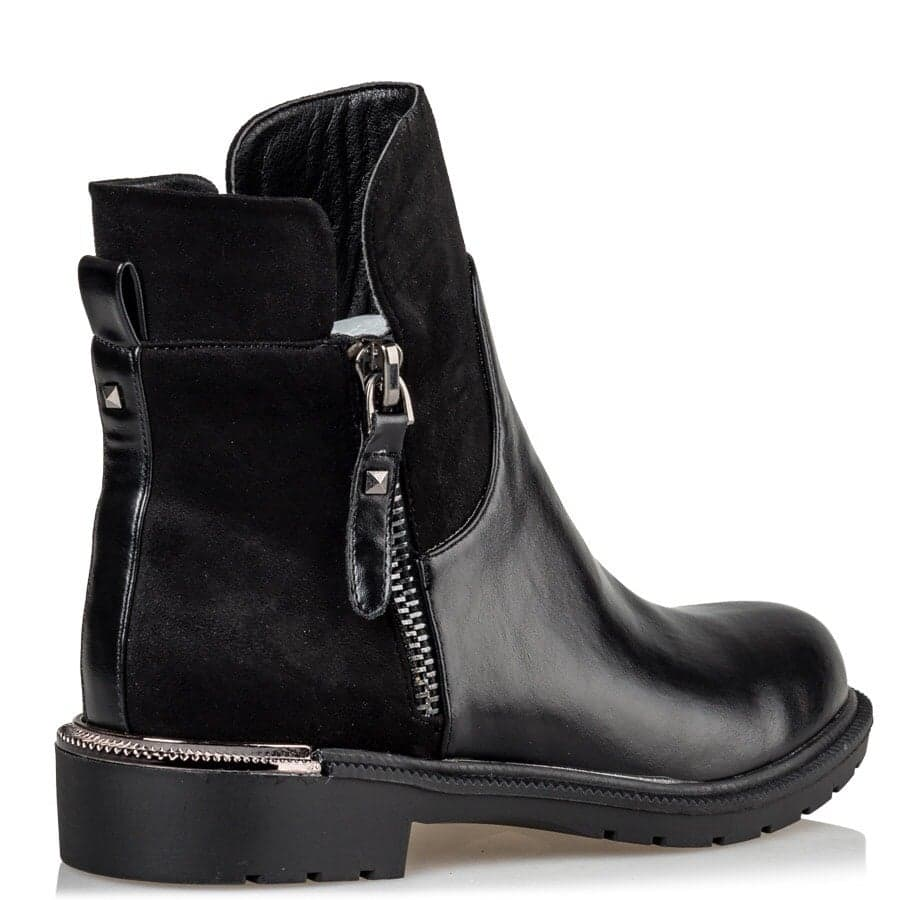 allday biker μποτάκια booties suede & leatherette