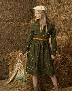 vintage πουά country chic φόρεμα Perry green