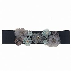 grey & blue 3d flowers elastic ζώνη