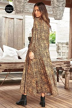 bohemian alternative animal print φόρεμα Reina maxi