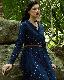 vintage πουά country chic φόρεμα Perry navy