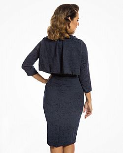 the ultimate pencil Jackie O style twinset σε μπλε navy