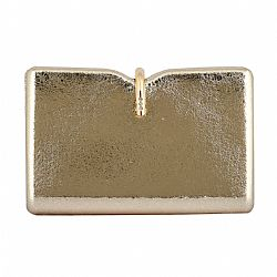 crackelle leatherette gold metallic clutch