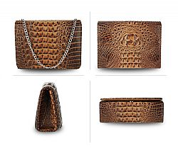must have croco vernis τσαντάκι σε camel brown