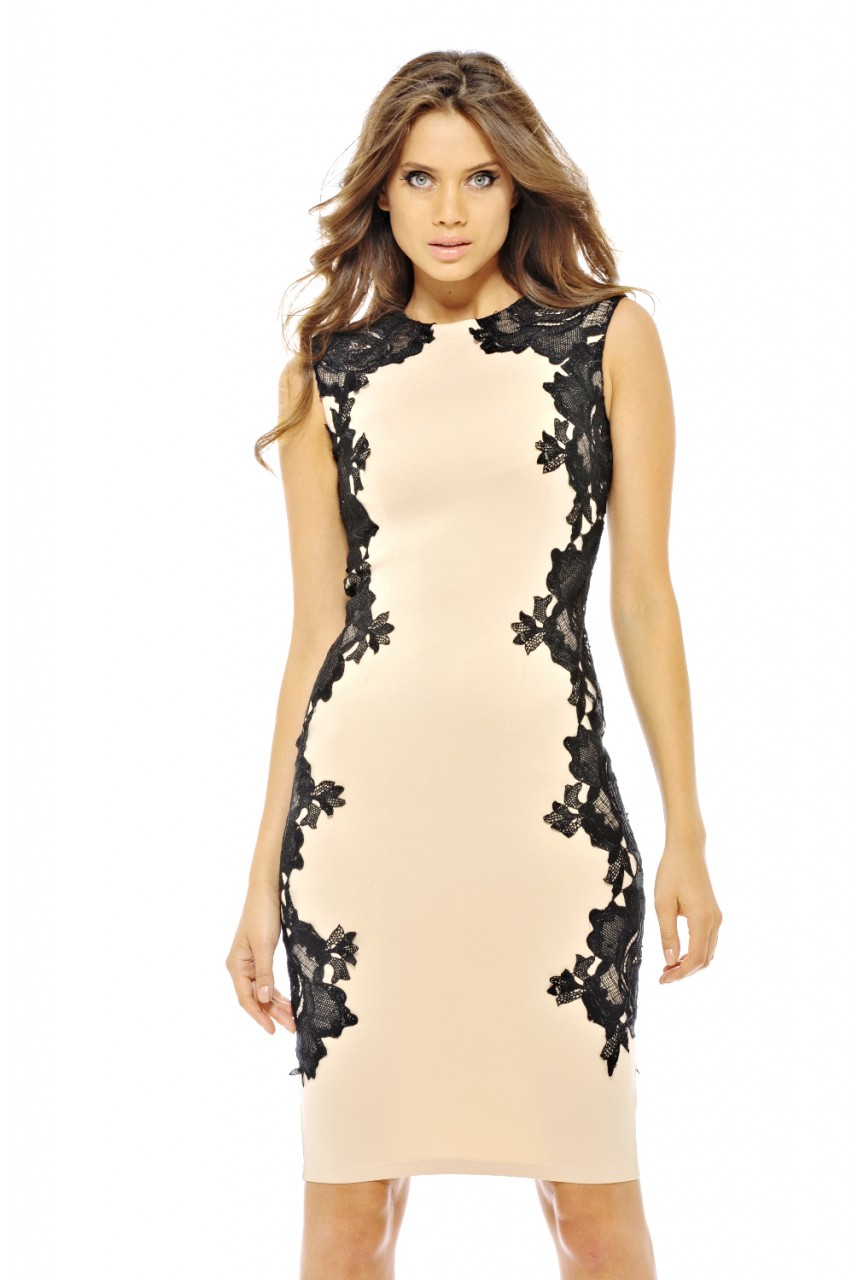 chic cocktail φόρεμα με πλαϊνά δαντέλα 8be8c485e10
