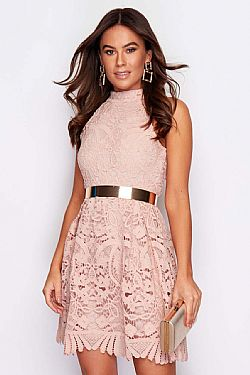 girly party φόρεμα salmon pink δαντέλα Dido