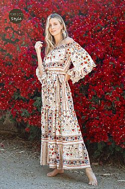 bohemian chic folklore gipsy off shoulder φόρεμα Cubana
