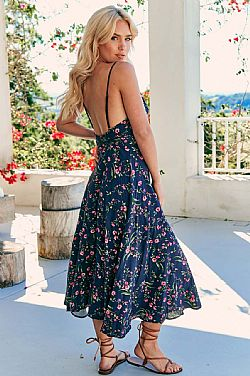 romantic boho chic φόρεμα petite floral Belle